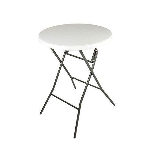 31ISfHZ E3L - Vanage Gartentisch klappbar in weiß - runder Bistrotisch / Stehtisch für Garten, Terrasse und Balkon - 80 x 80 x 110 cm
