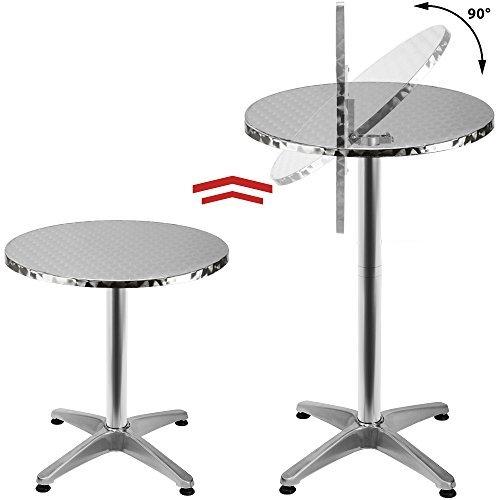 41B gD0w1IL - Deuba 2in1 Stehtisch klappbar Bistrotisch Aluminium Edelstahlplatte Höhenverstellbar 70cm Oder 110cm Partytisch Tisch Ø 60cm