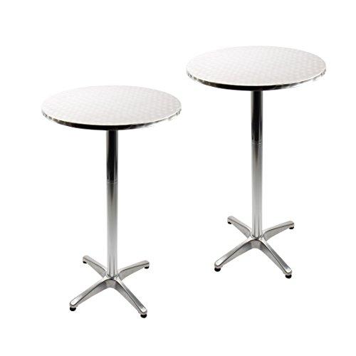 Vanage Stehtisch Bistrotisch in silber - 2er Set - Bartisch ist höhenverstellbar - Aluminiumtisch gut geeignet als Beistelltisch oder Partyisch im Garten