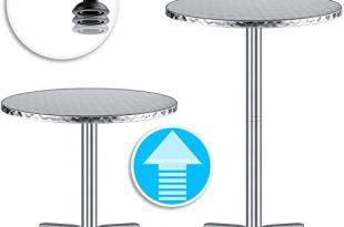 KESSER® - 2in1 Stehtisch Bistrotisch Aluminium Edelstahlplatte   höhenverstellbar   70cm / 115cm   Partytisch Tisch Ø 60cm   In- & Outdoor   Hochzeit   Empfangstisch   4 Standfüße, Silber